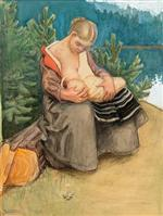 A Young Woman Feeding Her Child