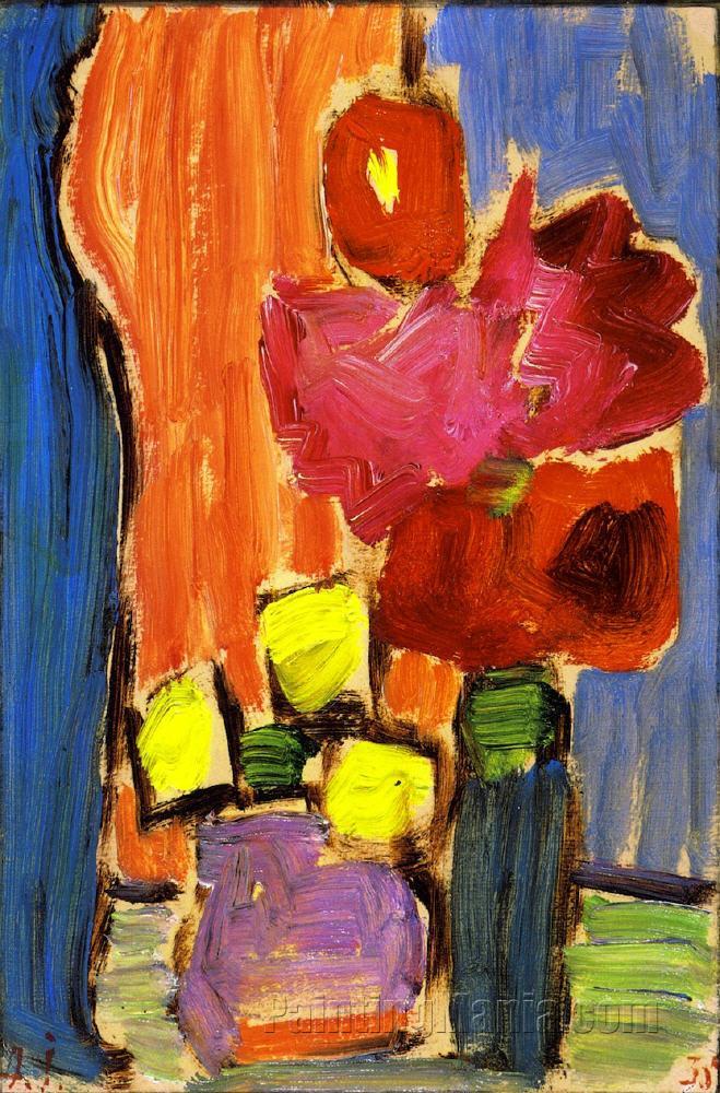 Still Life Red Flowers In A Blue Vase Alexej Von
