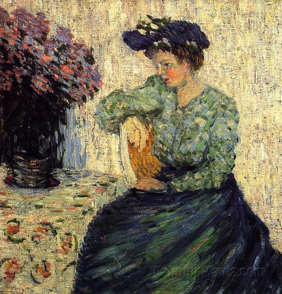 Young Woman with Bunch of Lilac