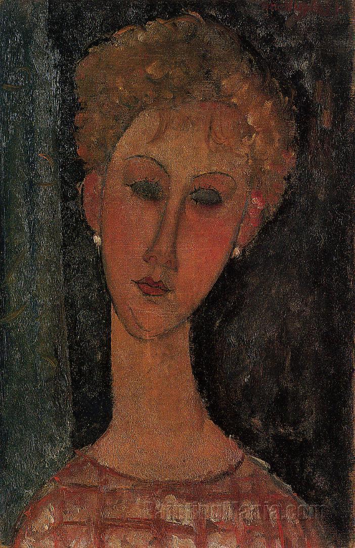 A Blond Wearing Earings