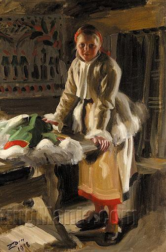 A Girl from Mora in Winter Dress