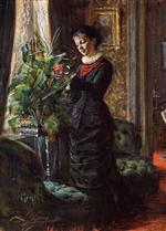 Fru Lisen Samson, nee Hirsch, Arranging Flowers at a Window
