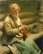 Girl from Dalecarlia knitting. Cabbage Margit