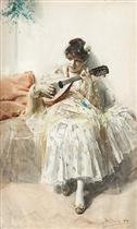 Girl Playing Mandolin