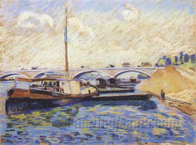 Barges on the Seine in Charenton