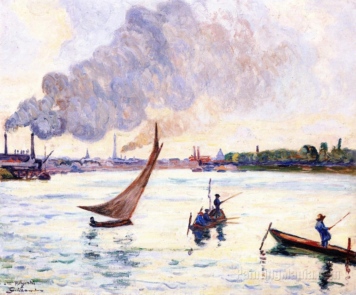 Fishermen and Sailboat - The Confluence of the Seine and the Marne