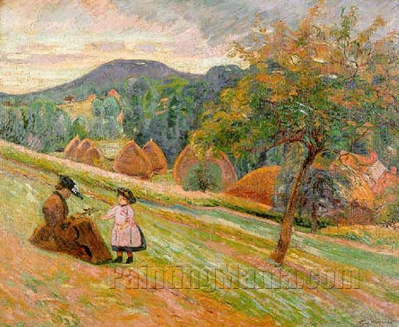 Woman and Child Sitting on a Hillside in Bretigny