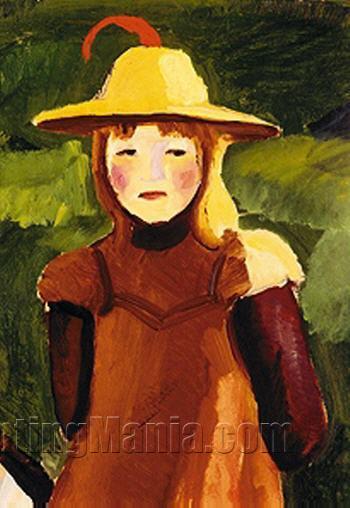 Farmer Girl with Straw Hat