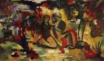 Entwurf fuer einen Wandteppich mit orientalischem Liebespaar