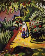 Im Garten - Elisabeth und Walterchen mit Wolf
