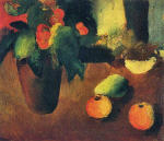 Still Life with Begonia, Apples and Pear