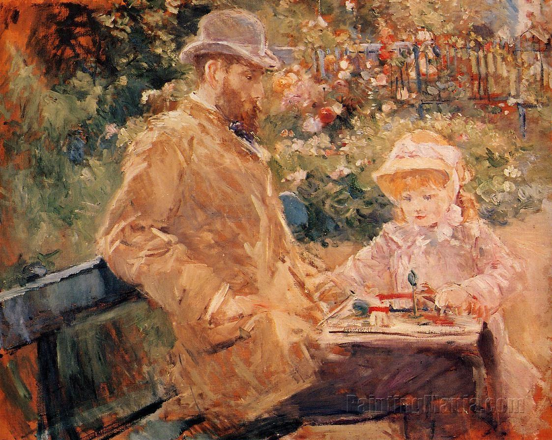 Eugene Manet and His Daughter at Bougival