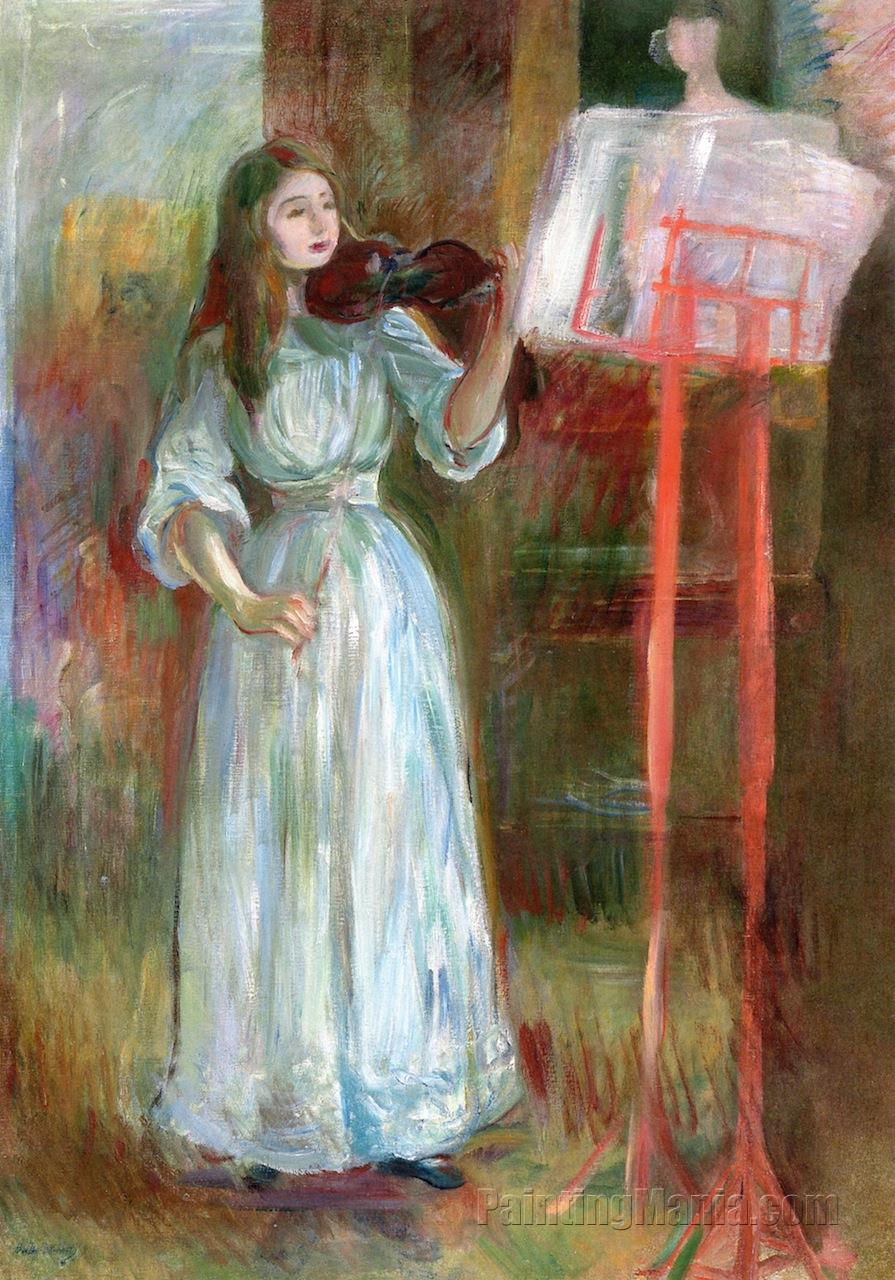 Julie Manet Playing the Violin in a White Dress
