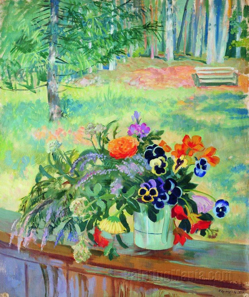 A Bouquet of Flowers on the Balcony - Boris Kustodiev Paintings