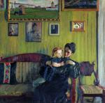 Portrait of Y.E. Kustodieva with Daughter Irina
