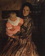 Portrait of Y.E. Kustodieva with Son