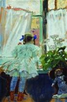 At the Window. Portrait of I.B. Kustodieva