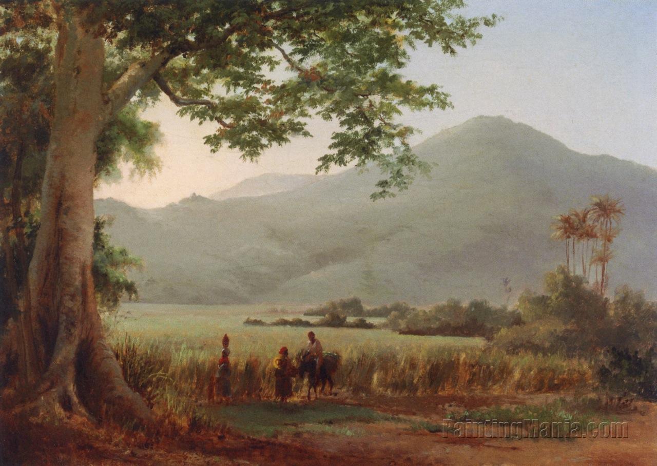 Antilian Landscape, St. Thomas (Figures Conversing by a Path)