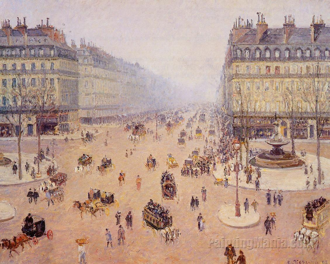 Avenue de l'Opera, Place du Thretre Francais: Misty Weather