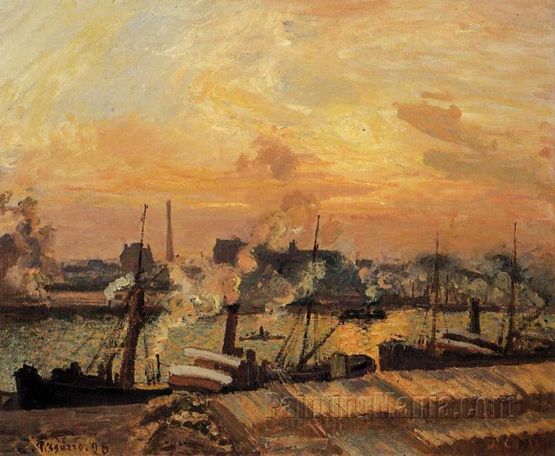 Boats, Sunset, Rouen