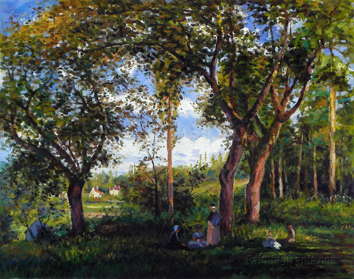 Landscape with Strollers Relaxing under the Trees