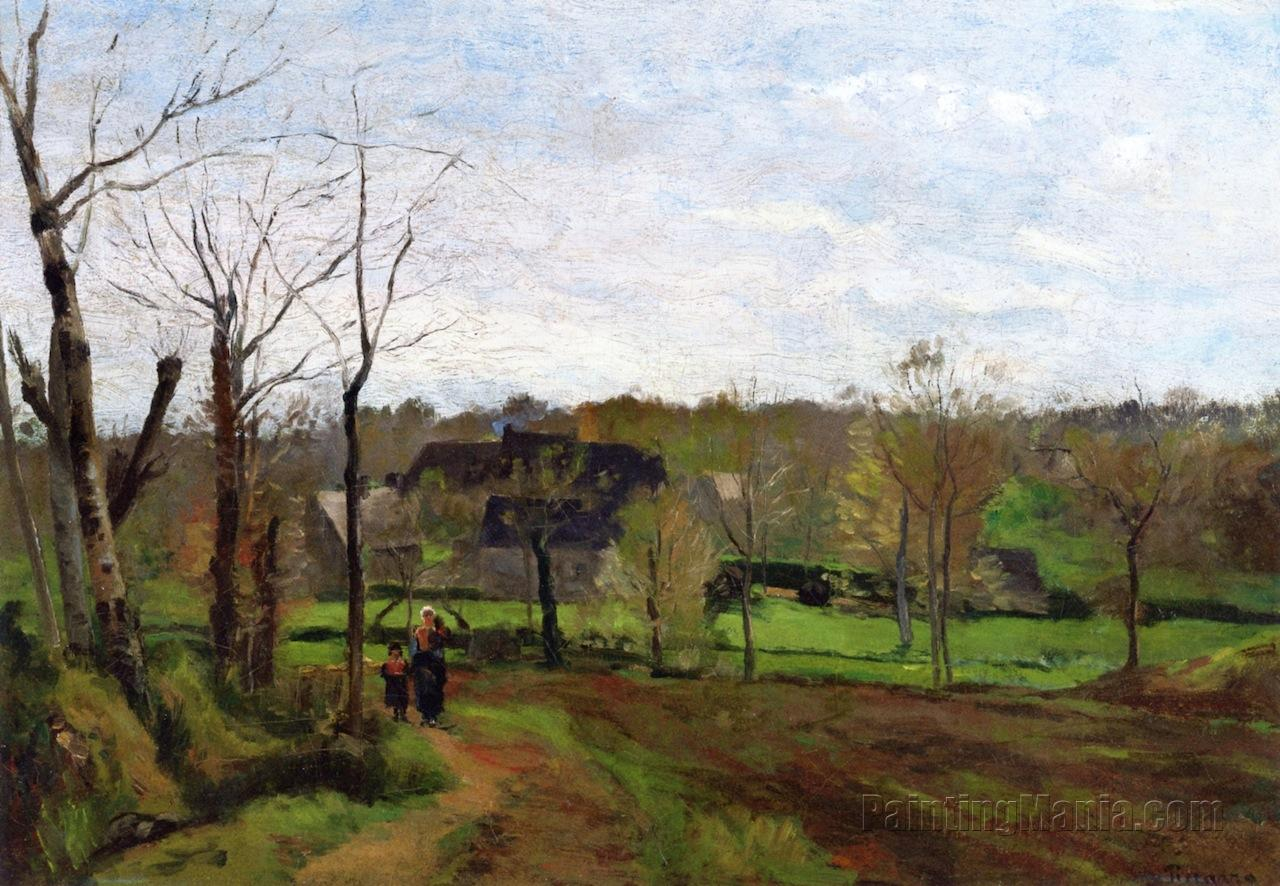 Woman and Child on a Path, Winter