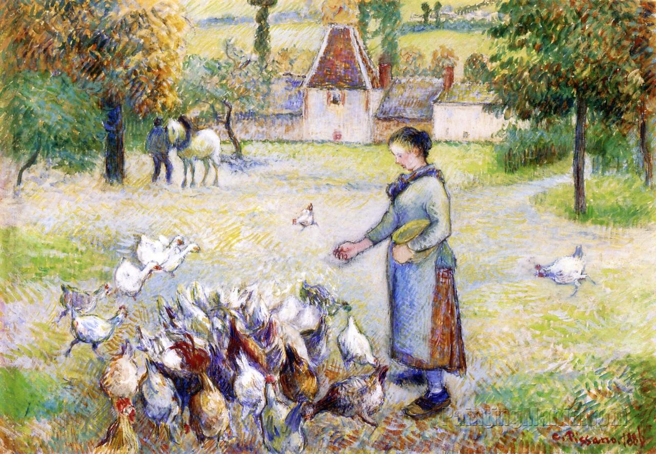 Woman Distributing Grain to the Chickens, Farm in Bazincourt