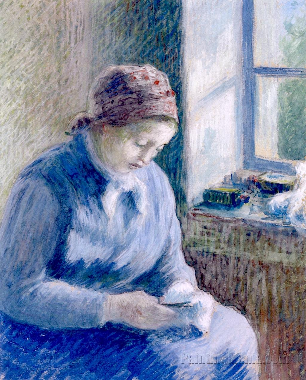 Woman Mending Socks