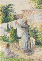 Femme etendant du linge, Eragny