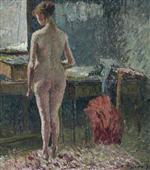 Femme nue de dos dans un interieur