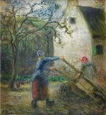 Femme vidant une Brouette