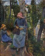 Two Young Peasants Chatting under the Trees