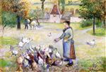 Woman Distributing Grain to the Chickens. Farm in Bazincourt