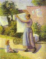 Woman Hanging Laundry