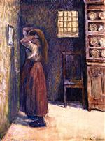 Young Peasant Woman Fixing Her Hair