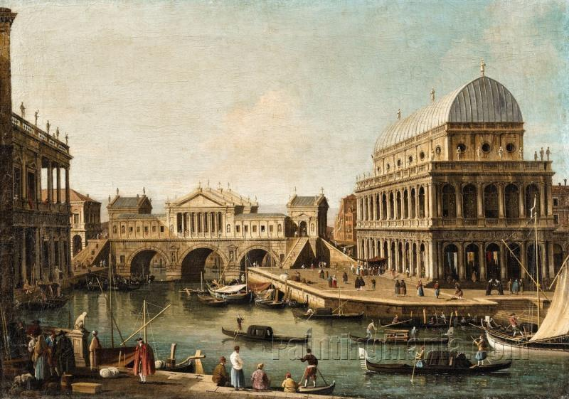 An Architectural Capriccio with the Ponte di Rialto after a design by Palladio and Buildings in Vice