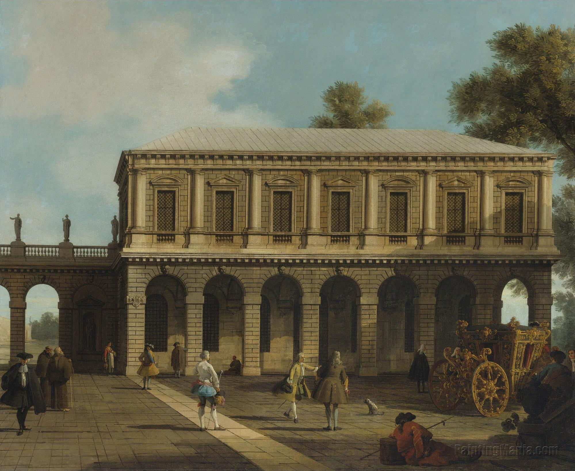 A Capriccio of the Prisons of San Marco set in a Piazza with a Coach and Townsfolk