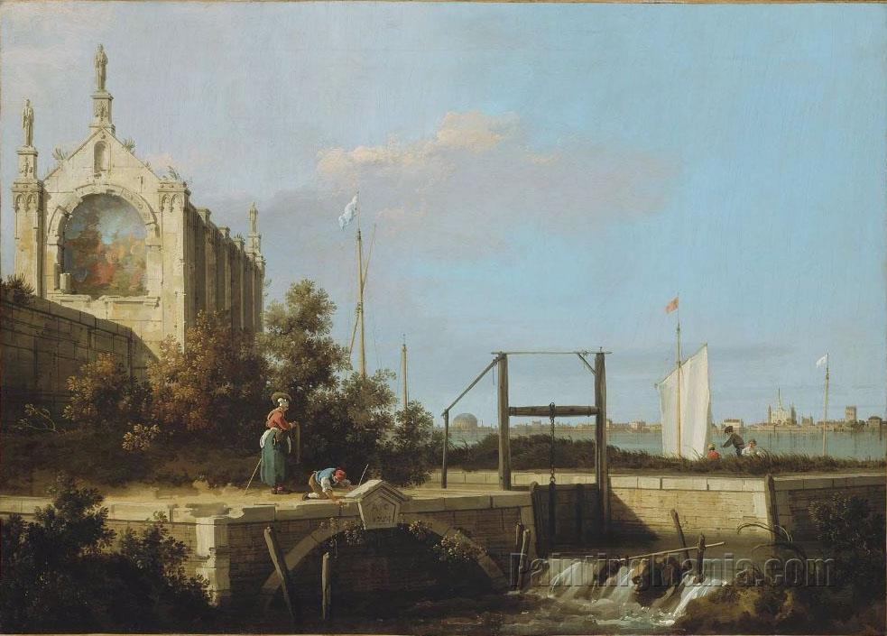 A Sluice on a River with a Chapel