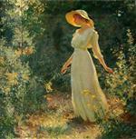 Woman in a White Dress in a Garden