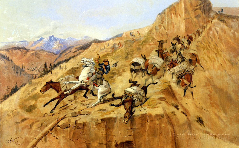 Attack on the Mule Train (Mule Pack Train)