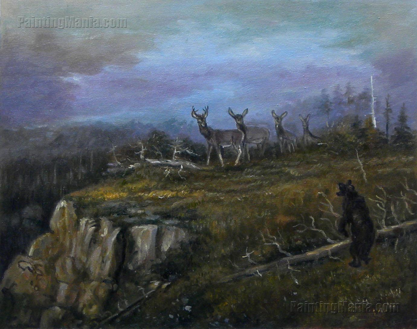 Deer and Bear in a Landscape