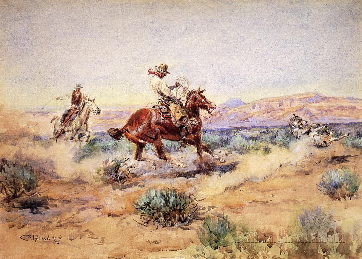 Roping A Wolf 1918 Charles Marion Russell Paintings