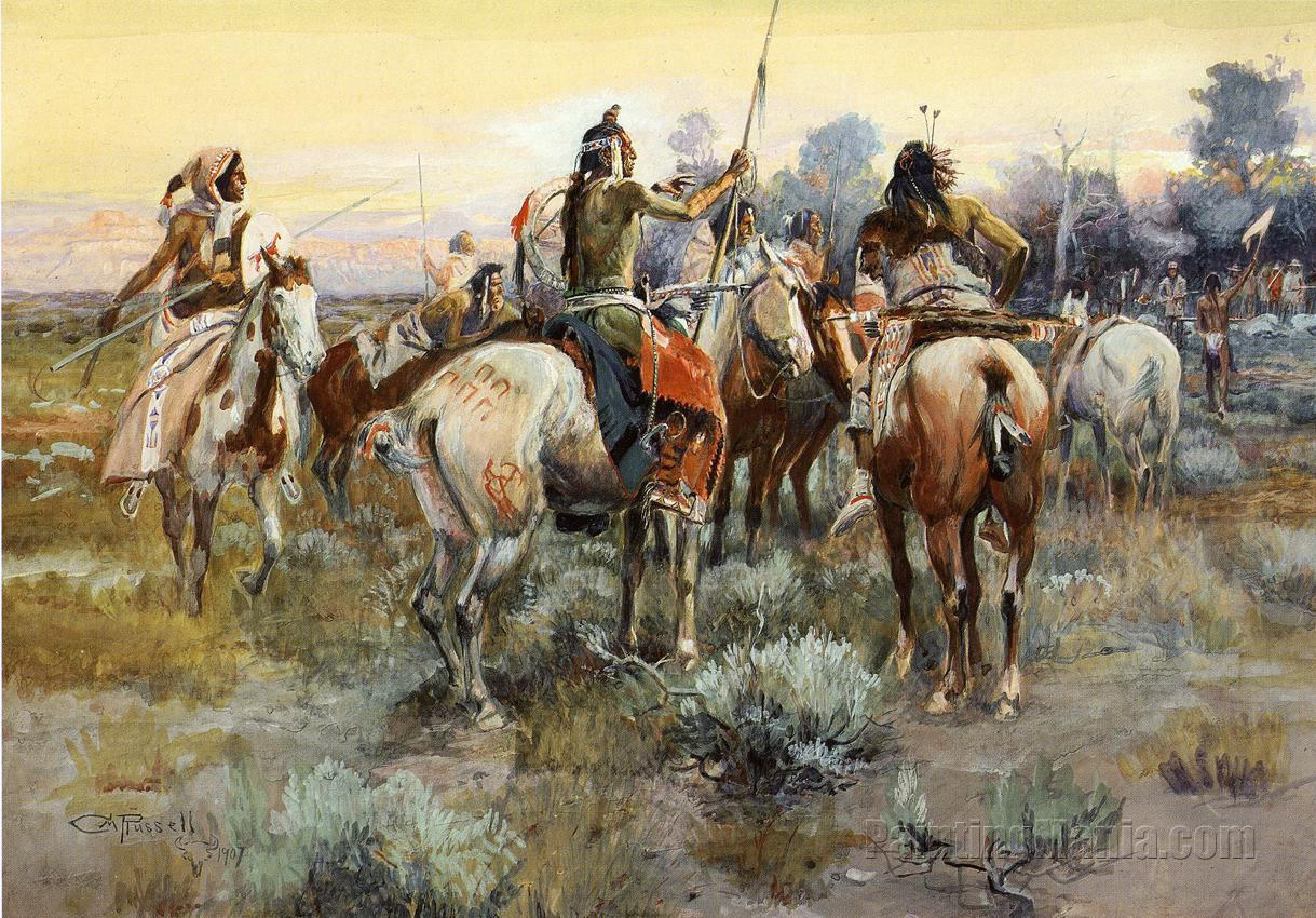 Charles M Russell NEW WESTERN ART POSTER Horse Fight
