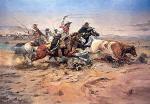 Cowboys Roping a Steer