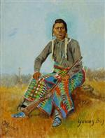 Portrait of a Native American 'Young Boy' with Buffalo Skull in lower left corner