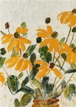 Gelbe Blueten in Vase