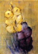 Yellow and Violet Gladioli