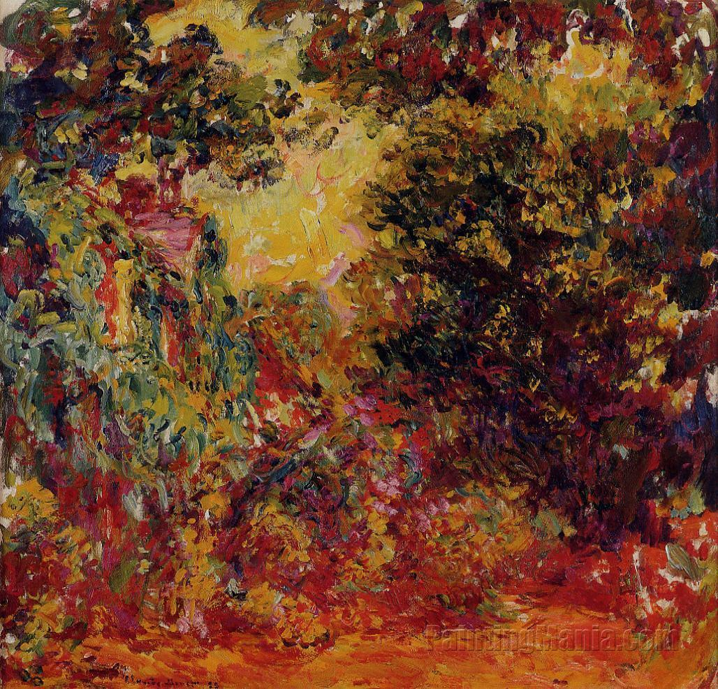 the artist 39 s house seen from the rose garden claude monet paintings. Black Bedroom Furniture Sets. Home Design Ideas