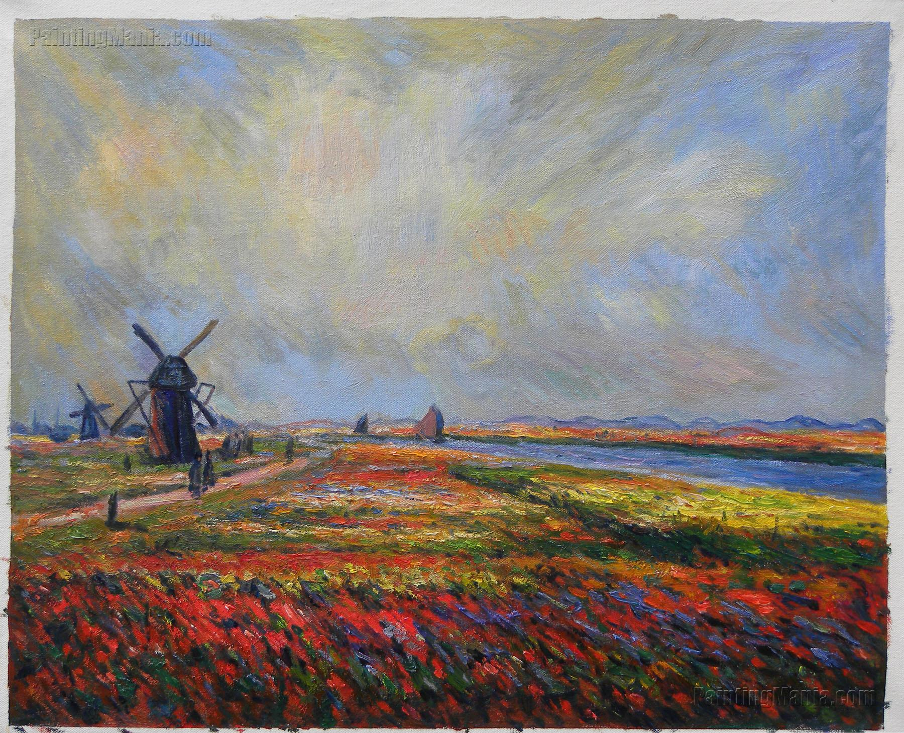 Field of Flowers and Windmills near Leiden
