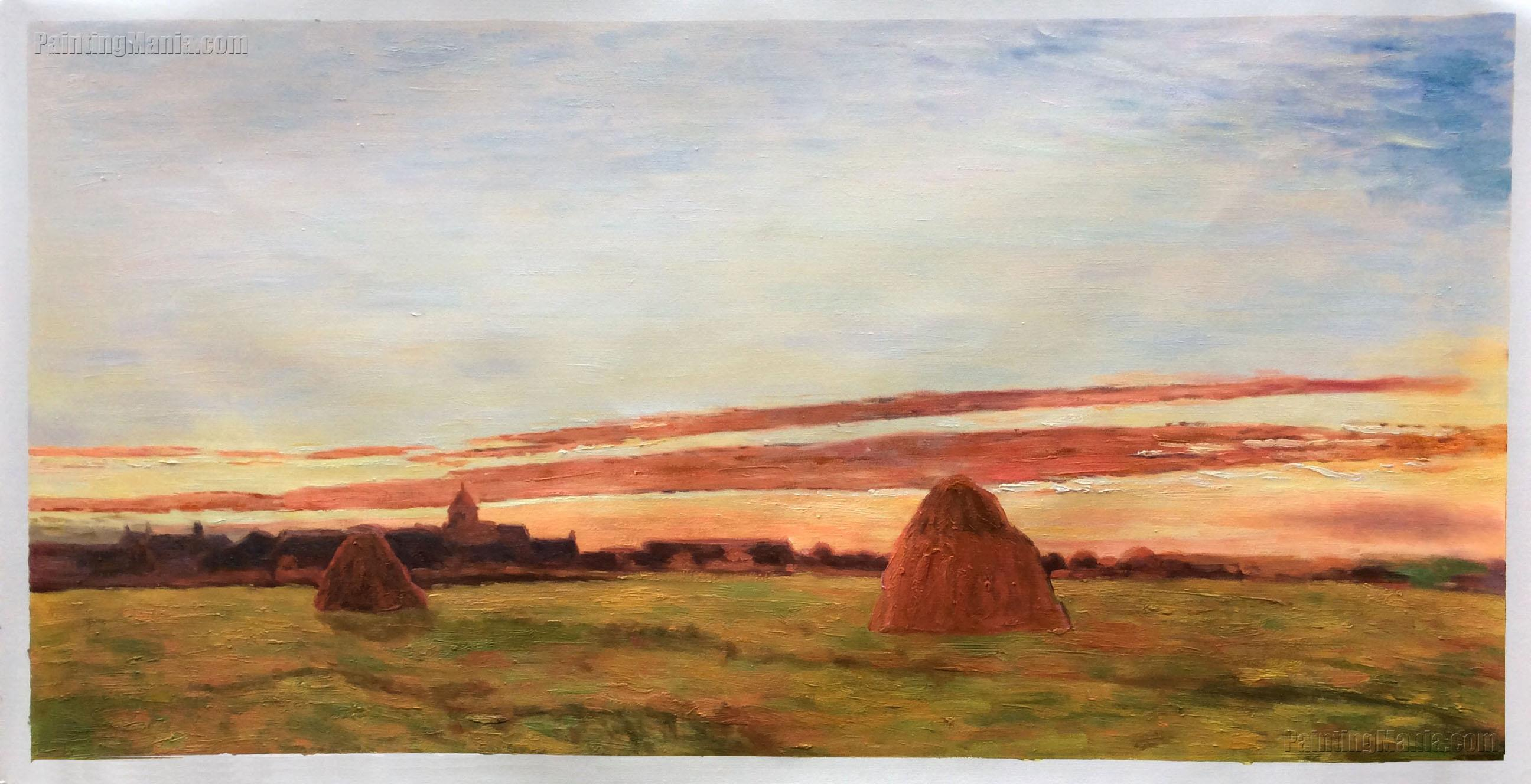 Haystacks at Chailly at Sunrise
